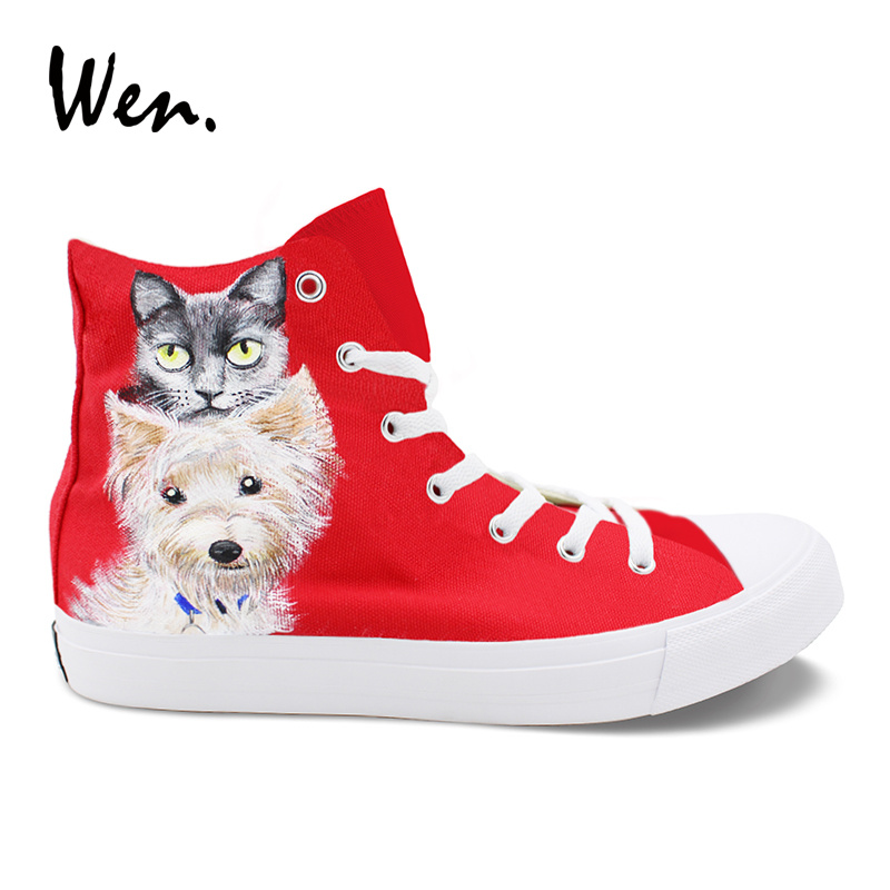 Wen Original Custom Hand Painted Design Red Shoes Toy Group Pet Dog Cat High Top Womens Canvas Sneakers Skateboard Mens Shoes red bull style pet dog cat suit red black size l