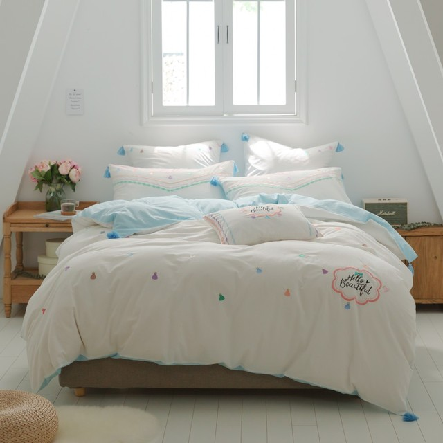 Princess Style Twin Queen King Size White Blue Cute Kids Girls Bedding Sets  Embroidery Bed Set