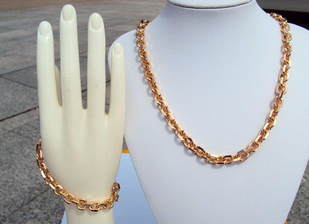 Настоящий светильник 18 К 18CT DARKGOLDENROD с золотым наполнением, широкая цепочка с открытым звеном для мужчин и женщин, ожерелье 24  , Набор браслетов S20A