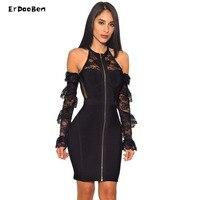 ERDAOBEN Bandage Sexy Women Summer Rayon black off shoulder lace mesh Party Club Wedding Evening Women Mini dresses 4410