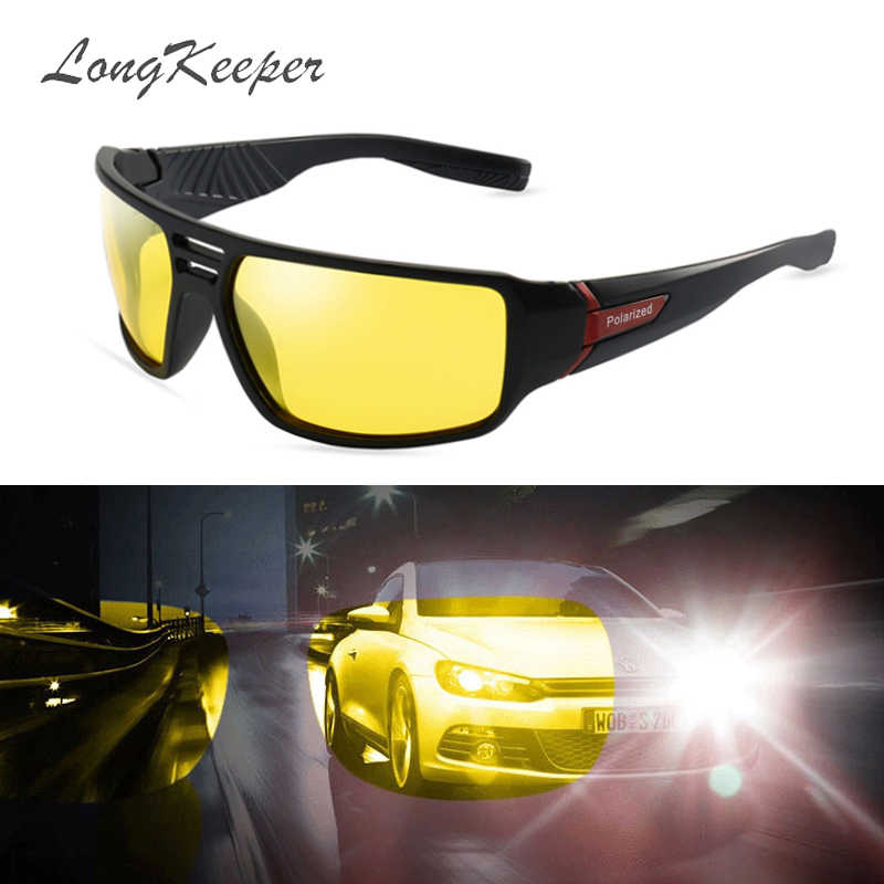 ca7f9b6132e2 LongKeeper Night Vision Sunglasses Men Women Goggles Glasses UV400 Sun  Glasses Yellow Lens HD Polarized Night
