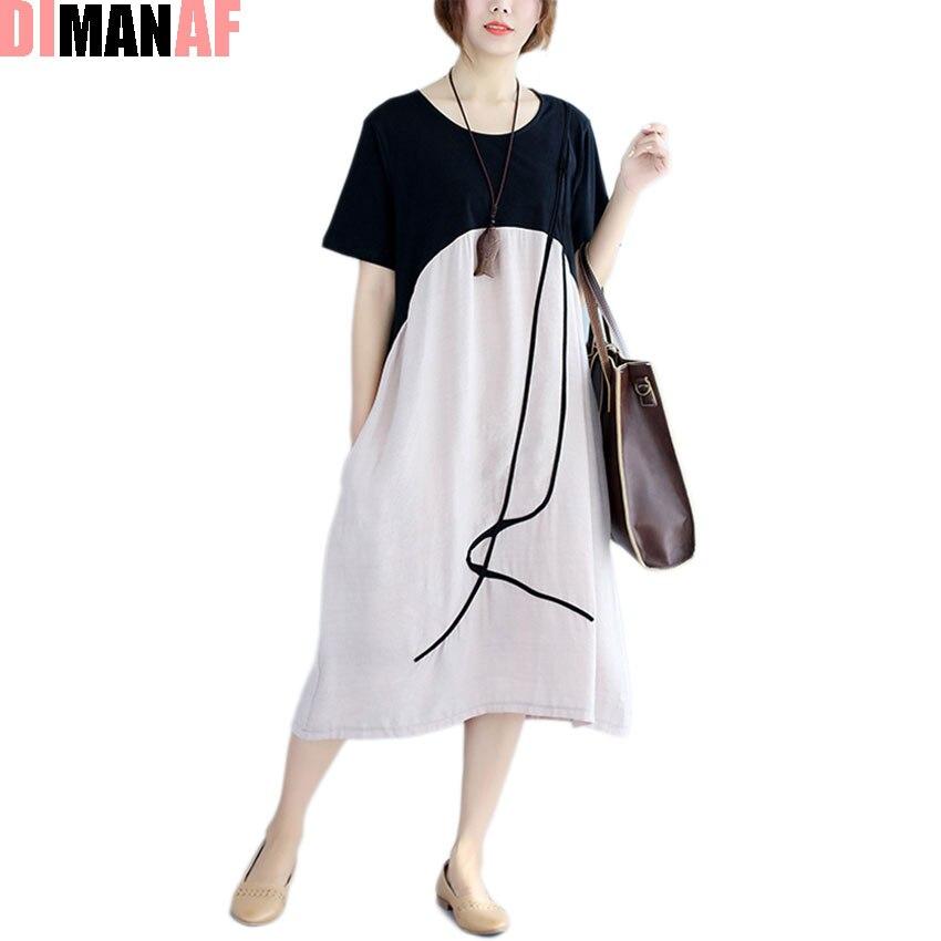 DIMANAF 2017 Šaty Letní Ženy Bavlna Splétané Patchwork Proužkovaný Tisk Ženský Vintage šaty Elegantní Neformální Nové Velké Volné Šaty