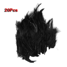 20-in-1 Colorful Cock Rooster Saddle Feather 3-4 inches (black)