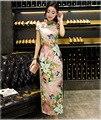 Vintage Traditional Pattern Chinese Cheongsam Dress Women's Short Sleeve Sexy Long Qiapo Top S M L XL XXL
