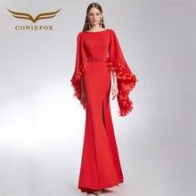 76a2bfc5234 CONIEFOX 32315 Reizvolle rote Mode gericht zug mermaid Damen Retro eleganz  Appliques prom kleider party abendkleid