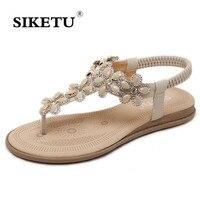 Women Sandals Summer Bohemia Beach Shoes Flat With Rhinestone Seaside Slippers Gladiator Sandals Women Footwear Sandalias