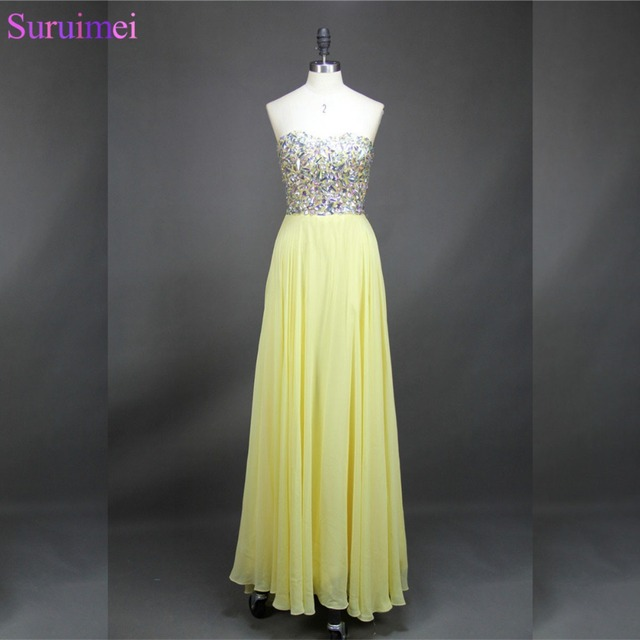 e6b806ab5288 Live Photos High Quality Beaded Light Yellow Formal Prom Gown Chiffon  Custom Made Long Prom Party Dresses Free Shipping