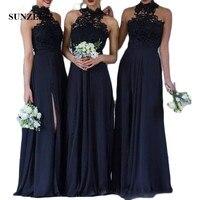 Lace Appliques High Neck Elegant Bridesmaid Dresses Long A Line Navy Blue Chiffon Prom Dresses Leg Slit Party Dresses SBD45