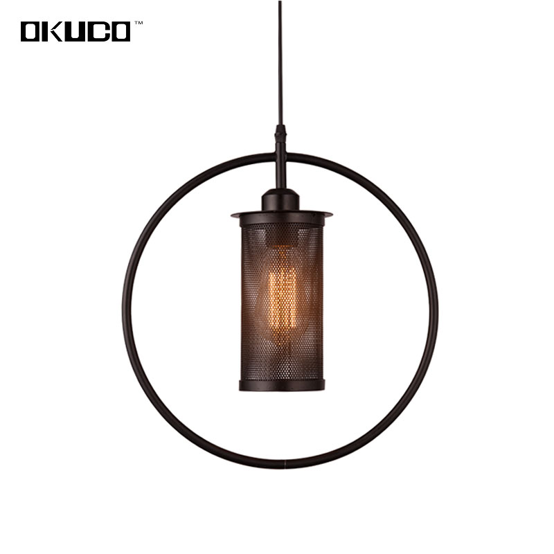 Black Industrial Vintage Pendant Lights For Dining Room Coffee Shop Decorate Rings Hanging Lamp With LED Bulbs Loft Style loft edison retro glass pendant hanging lamp antique industrial led pendant lights for cafe shop hall dining room bedroom bar