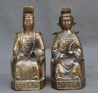 2 шт. 10 Старый китайский традиционный мифический Бронзовый Небесный королева мать нефритовый император Бог Статуя Пара