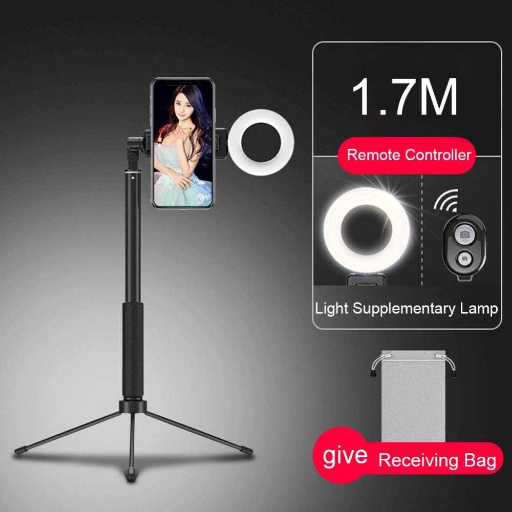 170 cm Bluetooth Selfie Stick trípode con anillo luz Selfie belleza retrato relleno iluminación para iPhone SmartPhone YouTube Video