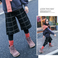 Girls fake two wide legs winter 2018 new children warm personality lattice leggings stretch pants trousers