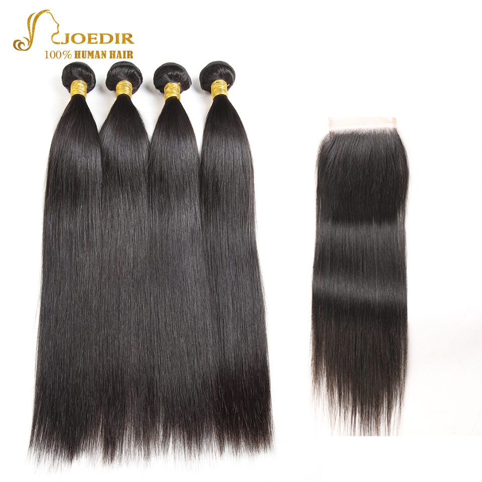 Joedir 4 Bundles with Closure Straight Natural Color Human hair bundles with closure Middle /Three /Free Part Lace Closure