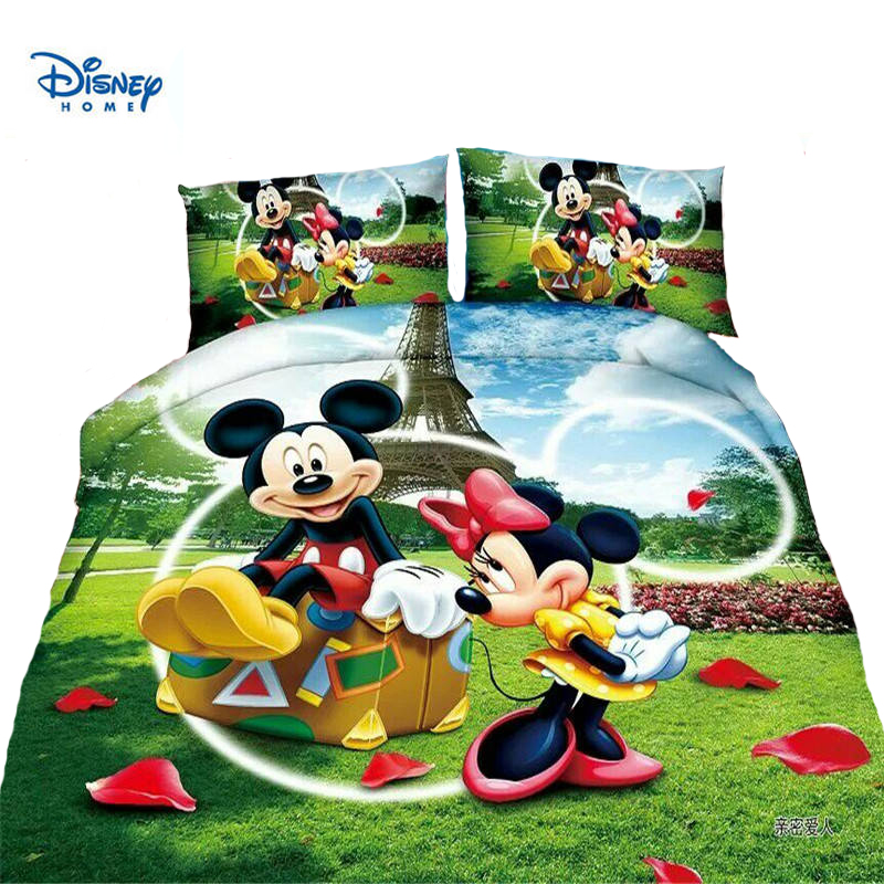 Cute Mickey Minnie Mouse Duvet Cover Set Single Twin Bed Linen