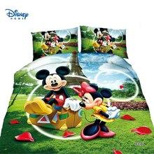Милые Микки и Минни Маус мышь пододеяльник набор Твин постельное белье для мальчиков и девочек постельных принадлежностей мультфильм «Дональд Дак» малыш Дисней наволочка