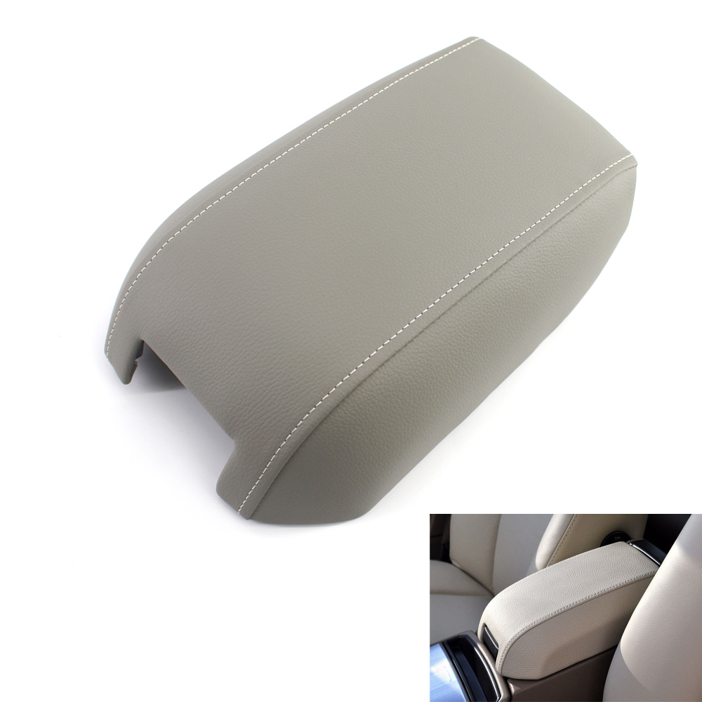 New Synthetic Leather Console Lid Armrest Cover Fits <font><b>2003</b></font> - 2014 Volvo <font><b>XC90</b></font> Gray image