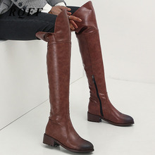 Pver-the-knee Boots Women New Autumn Winter Square Med Heel Shoes Fashion Motorcycle Round Toe Zip Ladies Knee High Brown Boot цены
