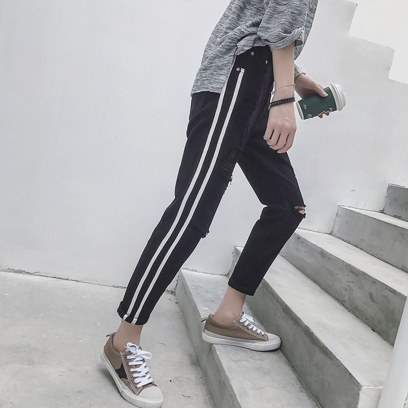 2017 Autumn Mens New Holes Jeans Trend Side Stripes Stretch Fit Loose Style Pantalon Fashion Casual Youth Trousers Brand