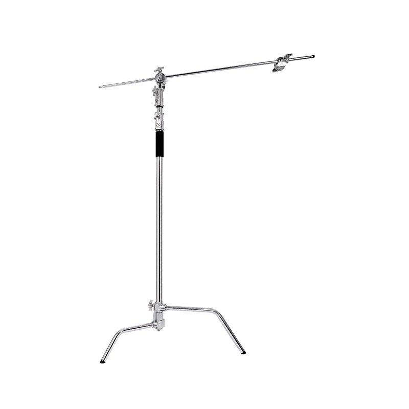 2.6m lightstand de aço inoxidável pernas mágicas fotografia c-frame suporte de luz de vídeo dobrável lightstand de ferro com 1m ferro ferroviário