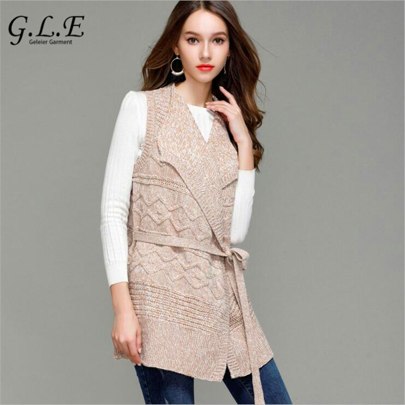 Geleier 2018 New fashion Long section lapel knitted cardigan women open stitch sleeveless vest sweater women coat female