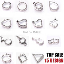 10pcs/lot Wholesale Silver Floating Locket with Chain Openable Magnet Glass Locket for Charms Living Memory Locket