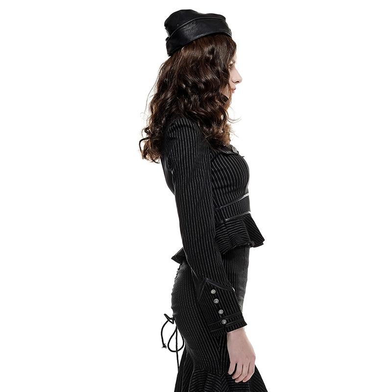 Tops Camicetta A Lunga Collare Del black Steampunk Militare red Manica Camicie Punk Uniforme Slim Strisce Black Fit Costume Camicia Gothic Basamento TCxax