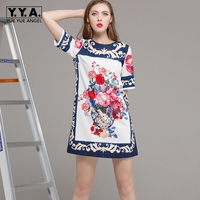 Brand Chinese Style Womens Dresses 2018 New Straight Fashion Vestidos Female Spring Printed Slim Robe Femme