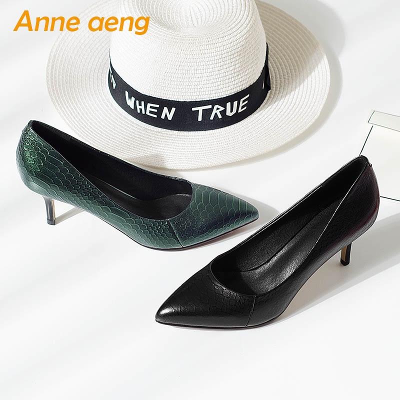 De Femmes Sexy Mince noir En Talons Nouveau Pointu Supérieure Cuir Pompes Dames Chaussures Green Printemps Haute Véritable automne Bout Noir Vache xqIvZ