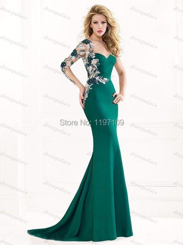 Aliexpress.com : Buy Fashionable Long Sleeve Mermaid Emerald Green ...