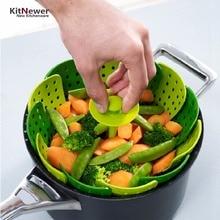 KITNEWER Peces De Plástico Plegable caldera del Cazador Furtivo Del Vapor Herramienta de la Cocina de Cocina Tazón de Verduras Canasta de Alimentos de silicona Vapor