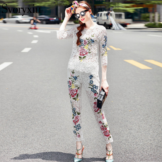 SVORYXIU New Autumn Women's Runway Career Clothing Set 3/4 Sleeve Flower Embroidery Lace Blouse + Long Pants Set Black / White