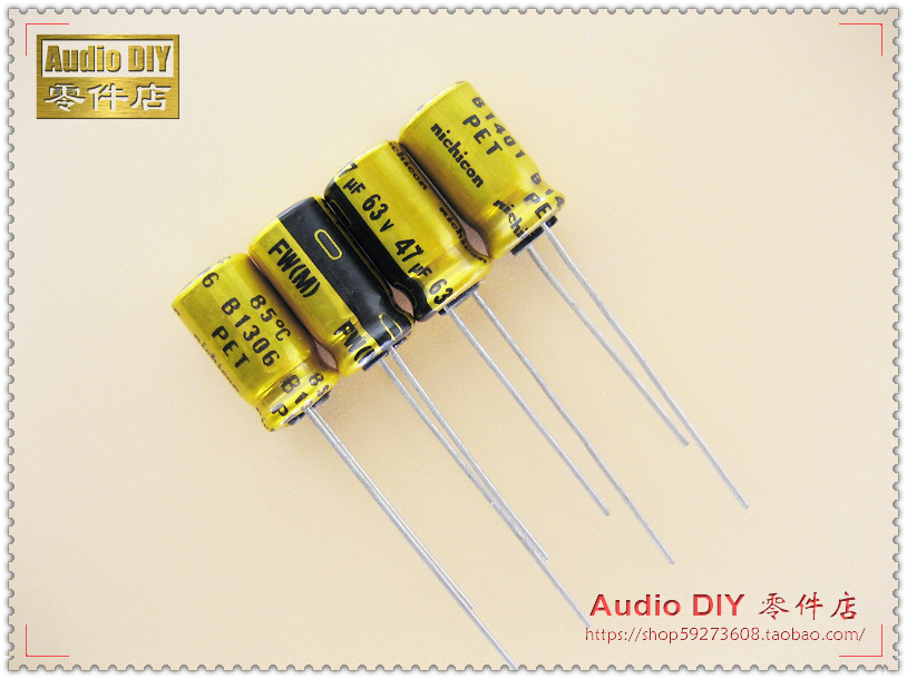 2018 hot sale 30PCS 50PCS Nichicon FW Series Electrolytic Capacitors for 47uF 63V Audio free shipping in Capacitors from Electronic Components Supplies