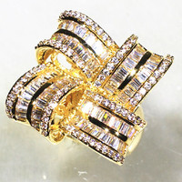 Square Petals Design With Shine AAA Zirconia Stone 360 Rotation Big Surface Rings For Women Fashion Jewelry 2017
