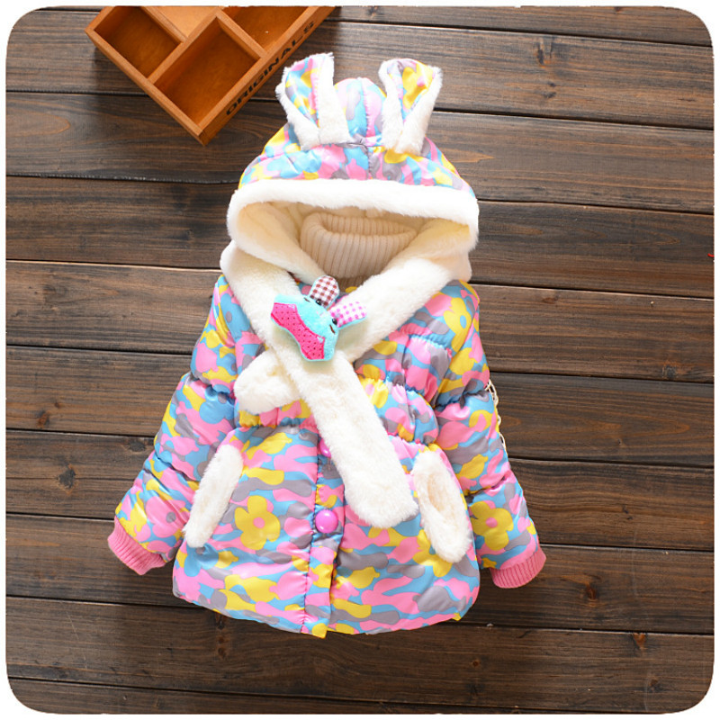 Baby flower Jackets Coat Autumn Winter Cotton Infant Coats & Outwear Cute Dot Toddler Kids Clothes Hooded Girl Children's Clothe