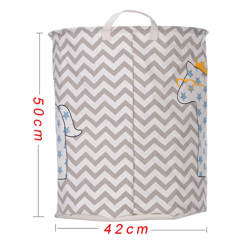 Barrel Folding Toy Storage Boxes Cart Basket Waterproof PE coating Laundry Clothes Rain Horse Pattern Container