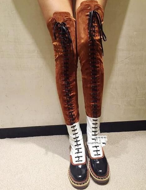Plus size size 35-44 metal chains decoration thigh high boots patent leather patchwork lace up over the knee motorcycle boots