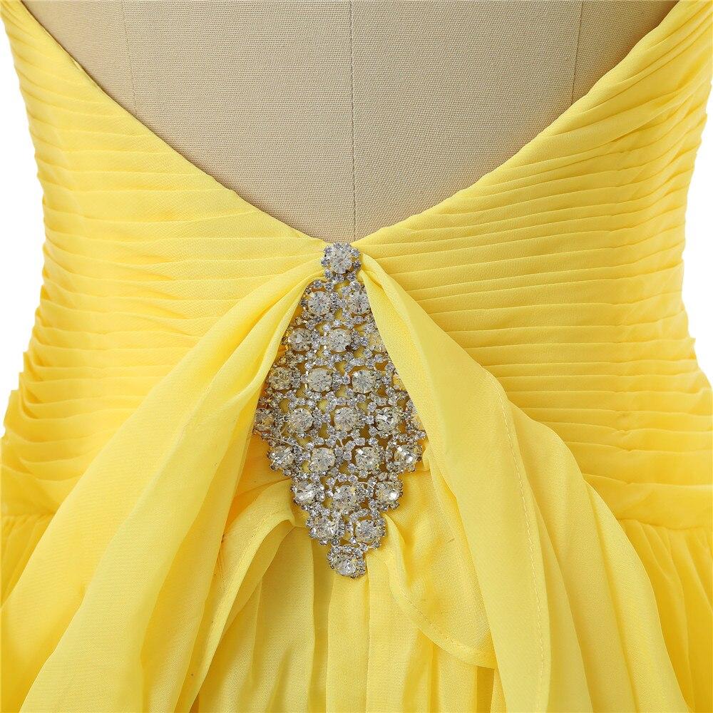 Robes De soirée jaunes 2019 a-ligne col en v Cap manches en mousseline De soie cristaux dos ouvert longue Robe De soirée Robe De bal Robe De soirée - 6