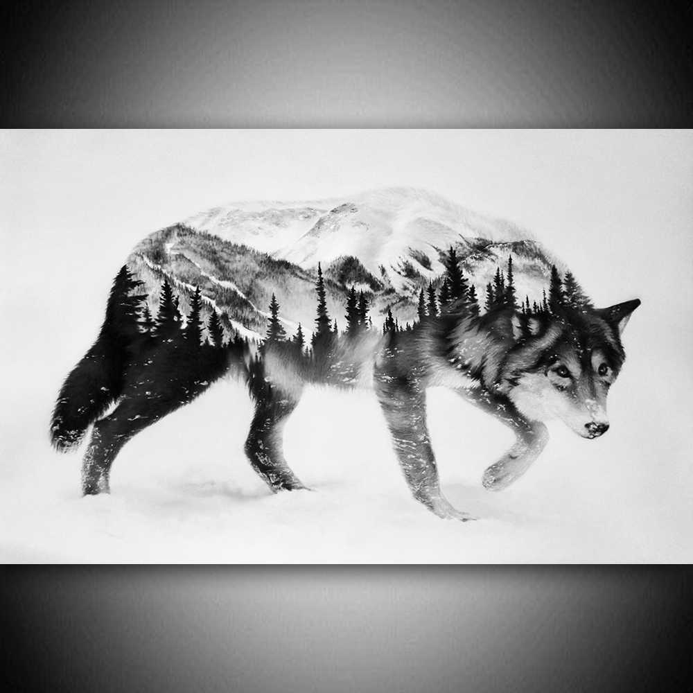 Abstract Animals Canva Prints Wall Art Wolf And Forest