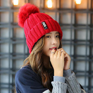 d362b59e sterbakov Cap Cotton Knit Pom Pom Women's Winter Girl's Hat