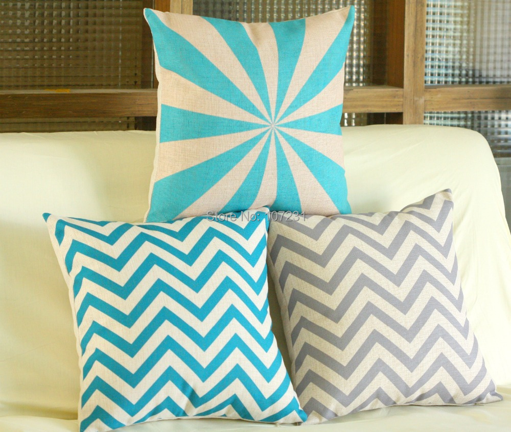 Vintage Linen Pillow Cushion Cover Throw decorative cushion covers 45cm*45cm Blue Grey-in ...