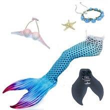 5 pcs / set New Mermaid Tail with Bikini Swimming Adults Women Girls Cosplay Suit Bathing
