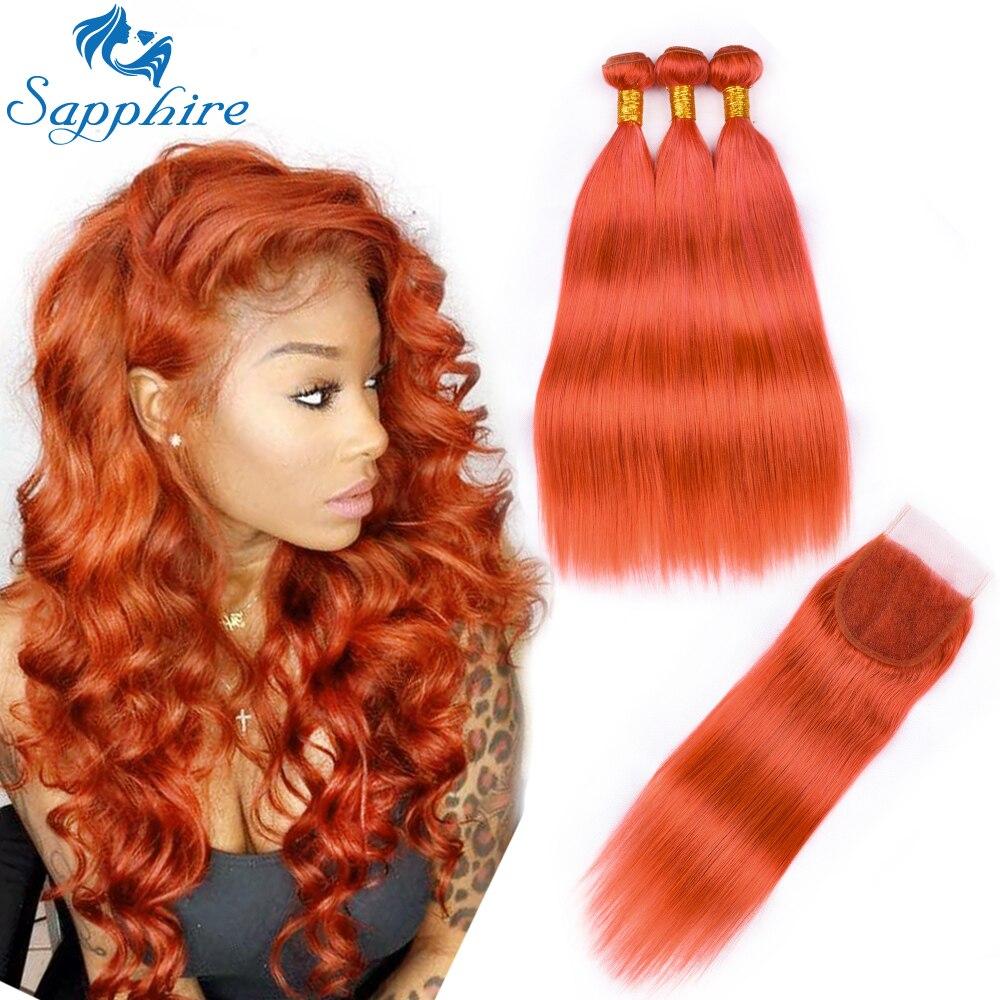 Saphir cheveux malaisiens cheveux raides paquets avec fermeture Remy 3 paquets avec fermeture fermeture en dentelle Orange Pure avec faisceaux