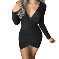 2017 New Winter Knitted Robe Femme Casual Sexy Club Party Bodycon Dress Women Long Sleeve Black