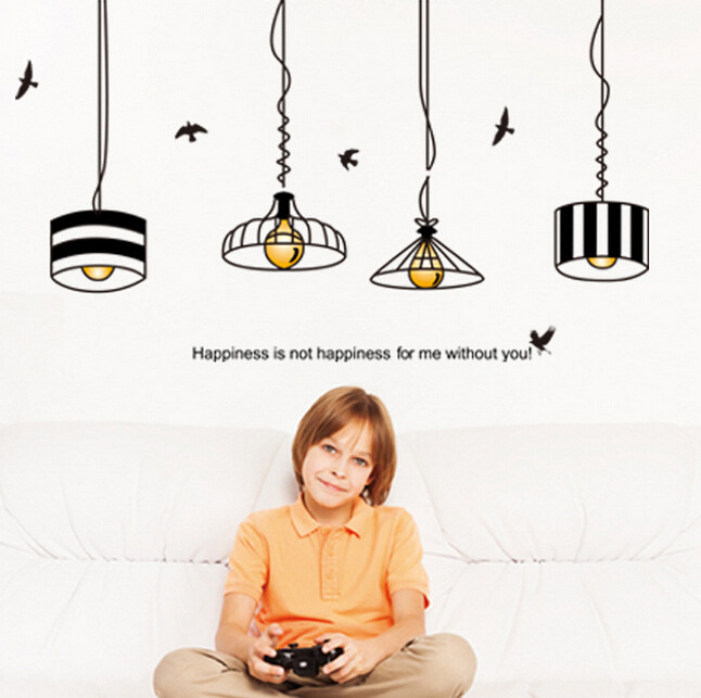 Retro Hanging Lamp Wall Sticker Electric Light Vinyl Kitchen Dining Room Stickers Decor Removable Decals Wallpaper In From Home Garden