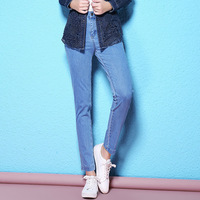 2018 Spring And Autumn New Arrival Women S Elasticity Fabric Jeans Light Blue Bottoming Pencil Jeans