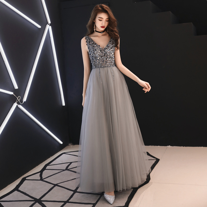Holievery Beaded Backless Tulle Prom Dresses 2019 Gray Long Prom Gowns Floor Length Formal Dress Balo Elbiseleri gala jurken