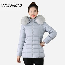 2017 Winter new women Slim cotton  women short thick coat Female Big Fur collar Hooded jacket warm Parkas overdress