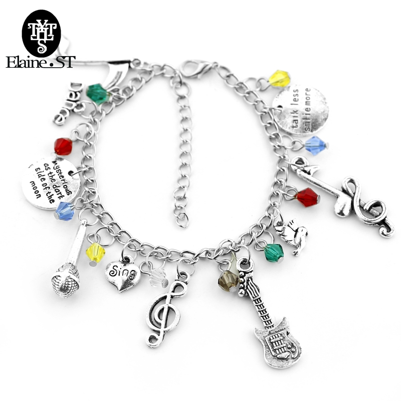 Fashion Crystal Music Charm Bracelets talk less smile more Hand carved Letter pendant with Microphone Singing lover gift