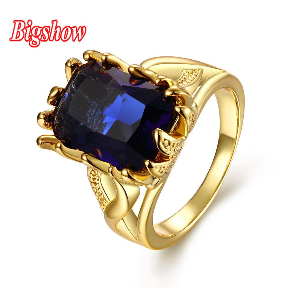 24k real yellow gold rose gold sapphire zircon stone fashion rings for women 2016 Christmas gift wedding ring R102-A-8