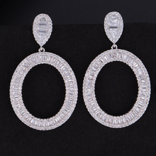 SisCathy Trendy Round Silver Pendant Earrings for Women Cubic Zirconia Party Fashion Jewelry Bridal Wedding Earrings Jewelry недорого